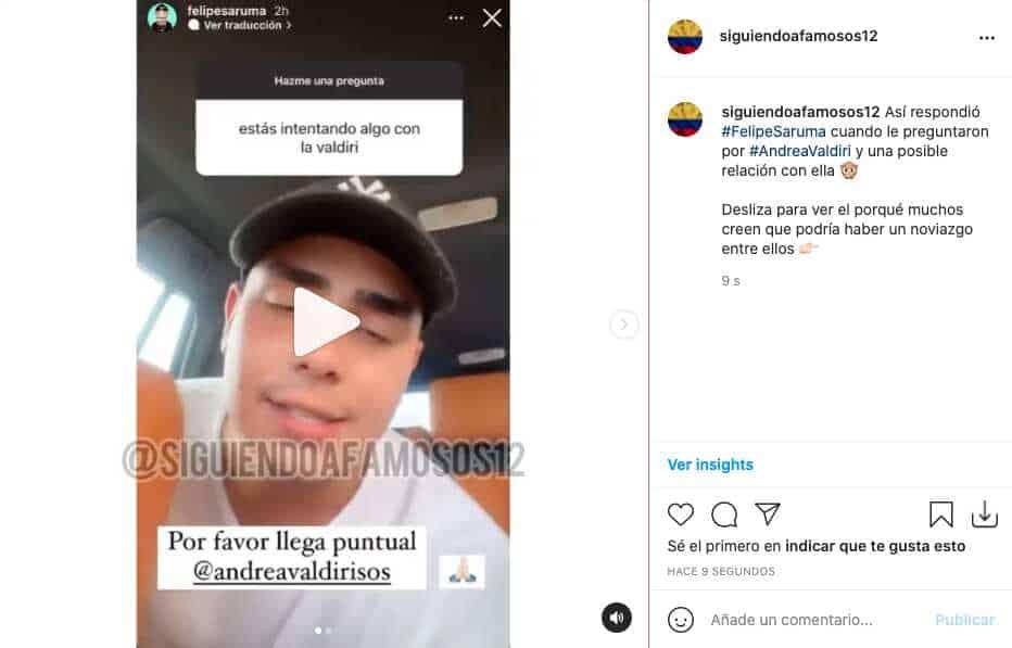 Le preguntan a Felipe Saruma si está intentando algo con Andrea Valdiri y así respondió
