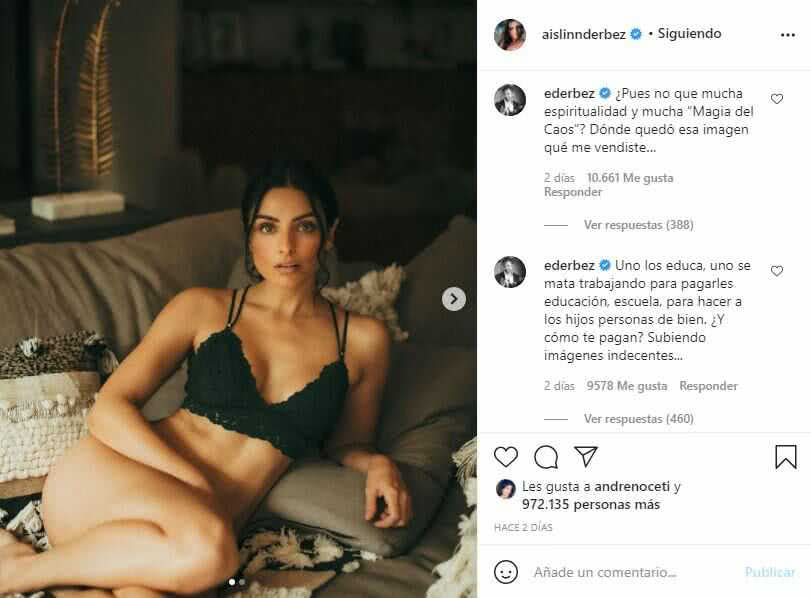 """Aislinn Derbez comparte sugerentes fotos en lencería y su padre la """"reprende"""""""
