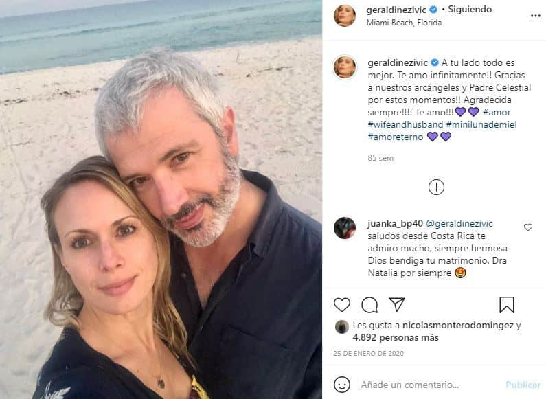 geraldine zivac con su esposo