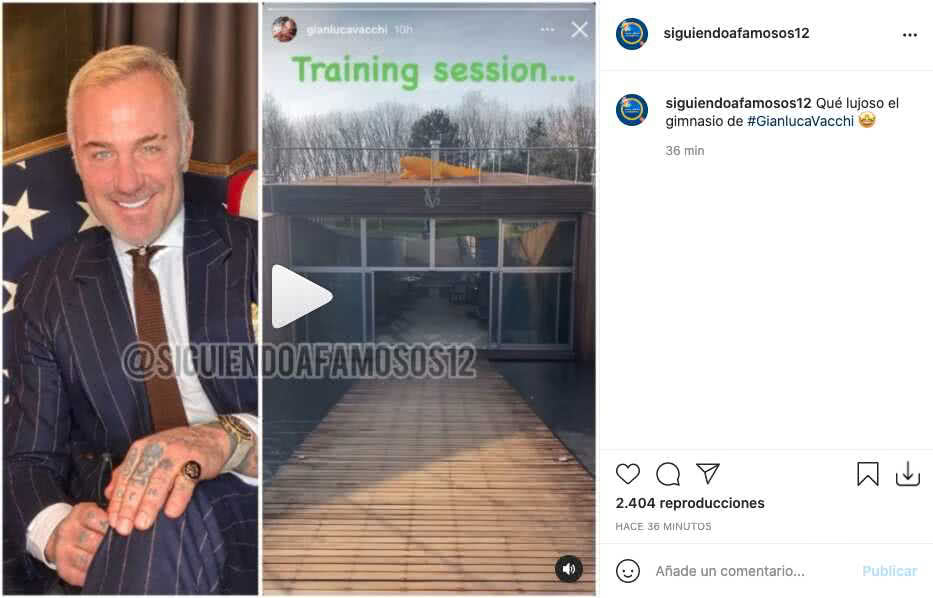 Gianluca Vacchi presumió parte del lujoso gimnasio que tiene en casa