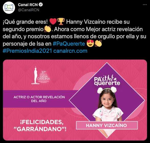 Hanny Vizcaíno se llevó dos Premios India Catalina a casa