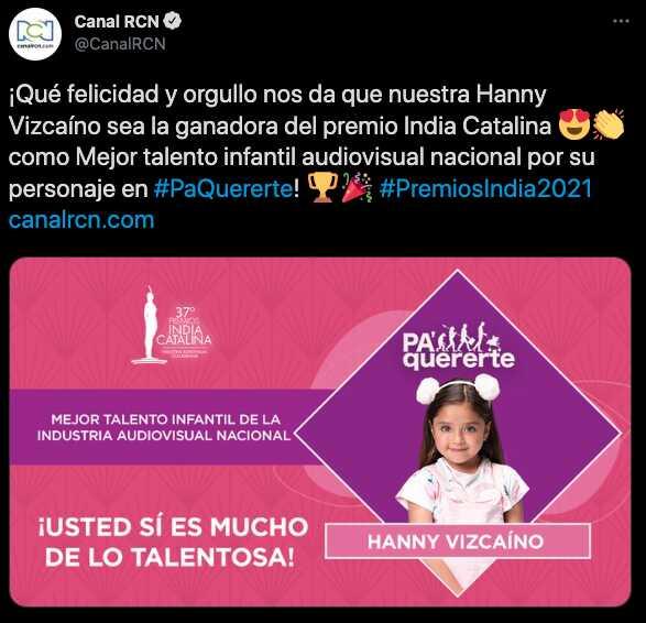 Hanny Vizcaíno, la actriz revelación que se llevó a sus 10 años dos premios India Catalina