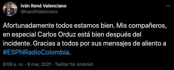 Iván René Valenciano da parte de tranquilidad tras el accidente de Carlos Orduz