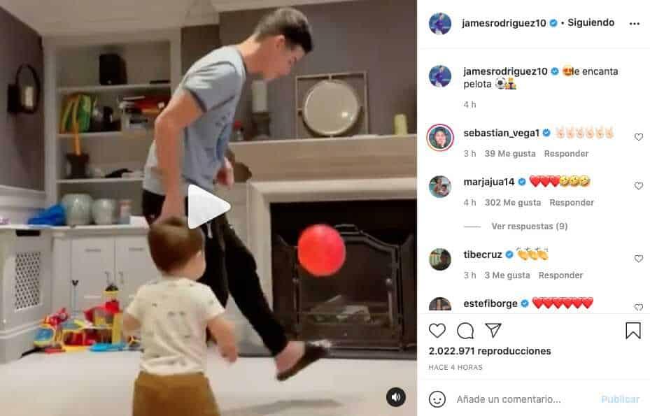 """""""Le encanta la pelota"""", James Rodríguez mostró cómo juega con su hijo"""