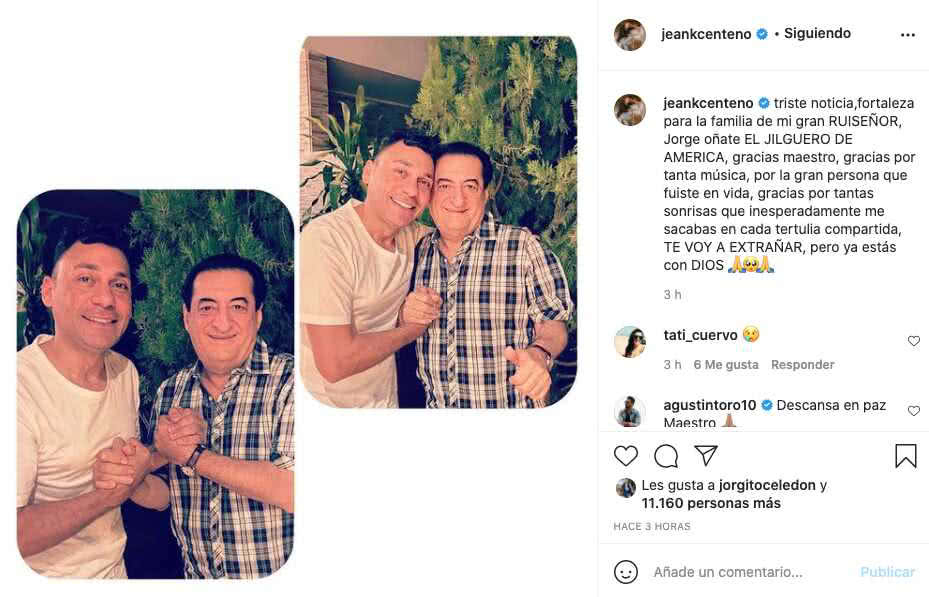 Jean Carlos Centeno despedida Jorge Oñate