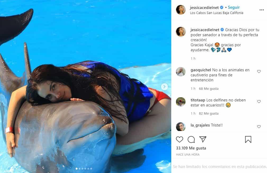jessica cediel con un delfin