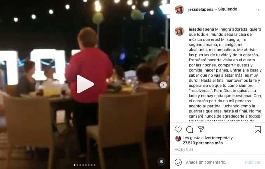 Jessica De La Peña despidió a su suegra, quien no superó el COVID-19
