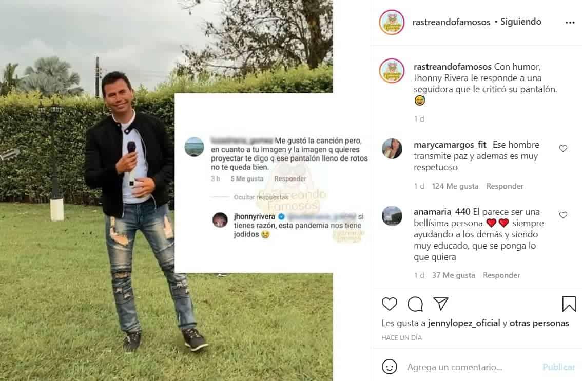 Jhonny Rivera provocó risas por la respuesta que le dio a un seguidor.