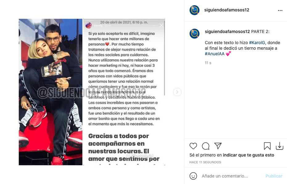 Karol G y Anuel AA confirmaron que ya no están juntos con mensajes en redes