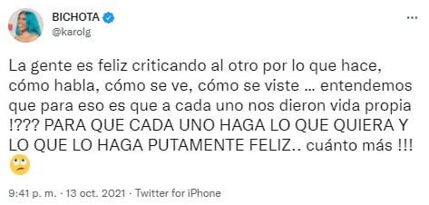 karol g responde a criticas