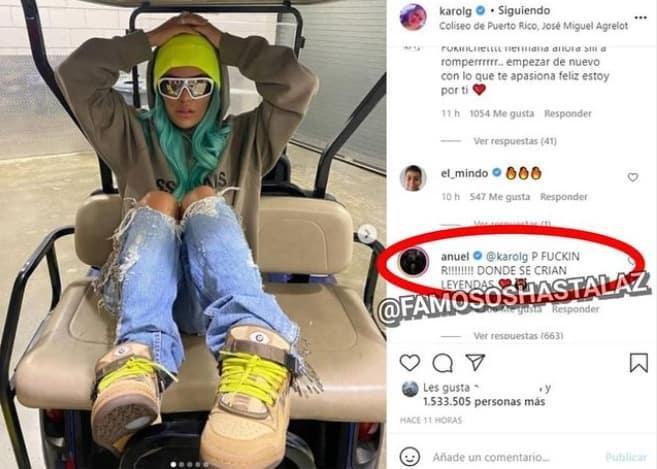 karol g publica fotos y anuel aa le comenta
