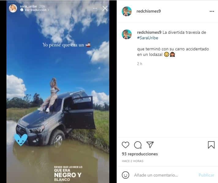 La aventura de Sara Uribe que terminó con su carro accidentado en un lodazal