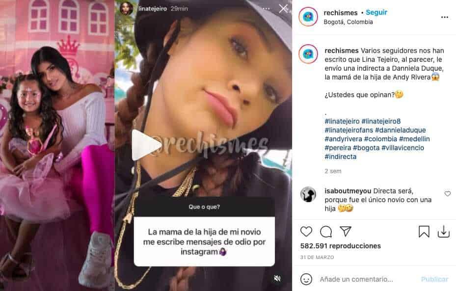 Ex de Andy Rivera responde si es la tóxica a la que se refería Lina Tejeiro en Instagram