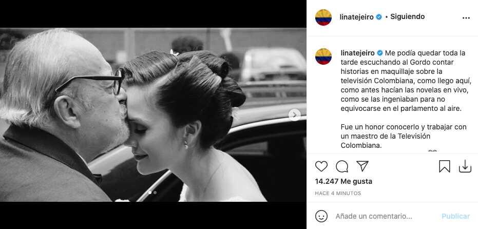Lina Tejeiro reacciona tras la partida de El Gordo Benjumea
