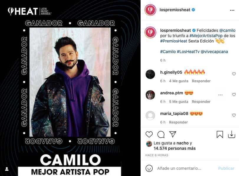 Premios Heat 2021: Paola Jara, Camilo y Farina entre los ganadores junto con Camilo
