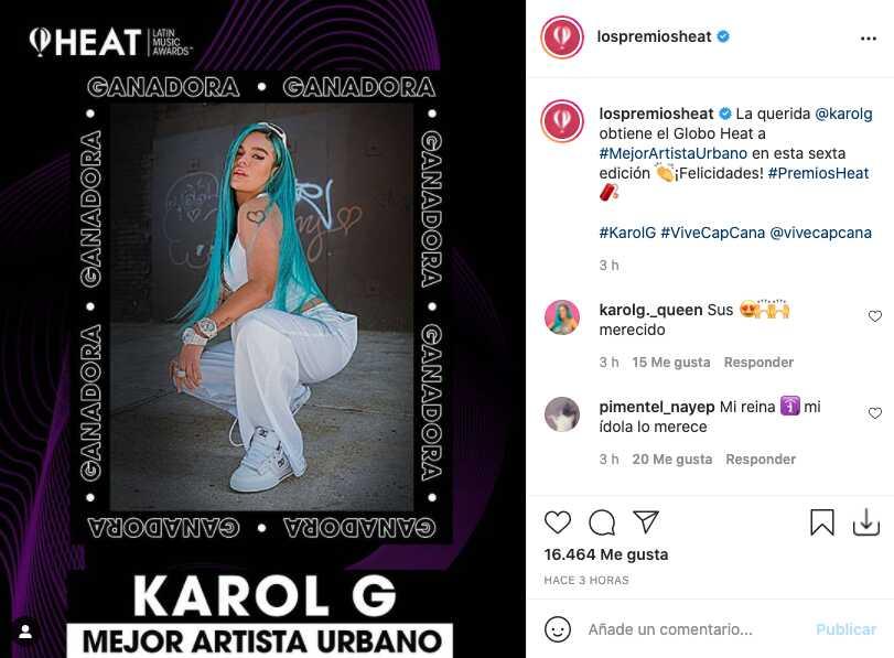 Premios Heat 2021: Paola Jara, Camilo y Farina entre los ganadores junto con Karol G