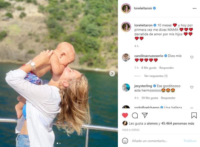 Con tiernas fotos, Lorelei Tarón habló de las primeras palabras de su hijo