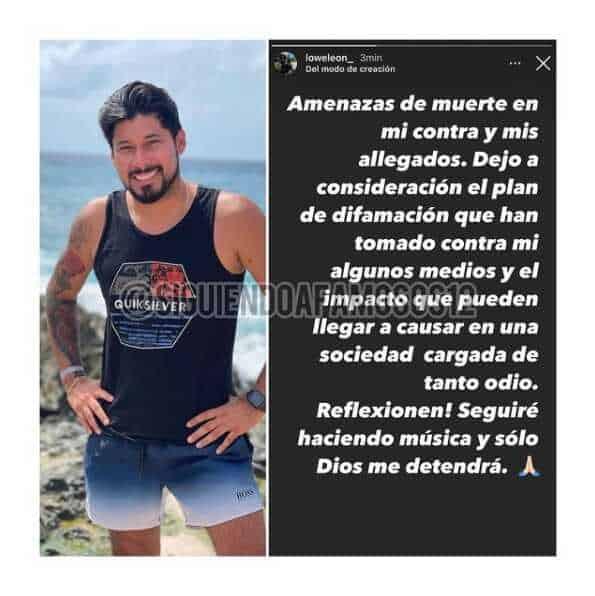 Lowe León, ex de Andrea Valdiri, denuncia amenazas de muerte en su contra
