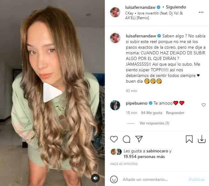 Luisa Fernanda W recibió varios elogios tras grabar particular reel