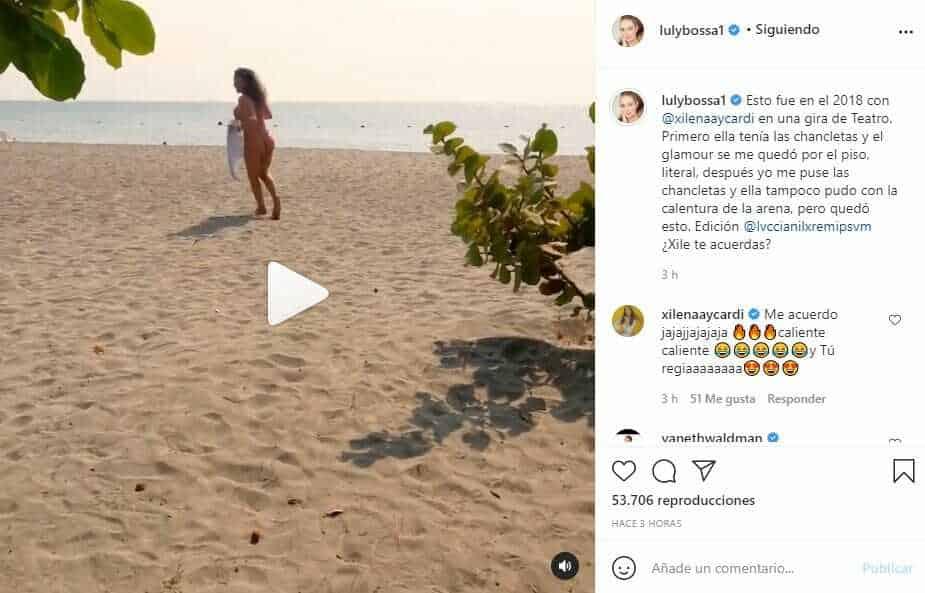 Corriendo por la playa, Luly Bossa presumió sus glúteos en ajustado bikini