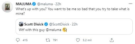 maluma discusion con scott discik