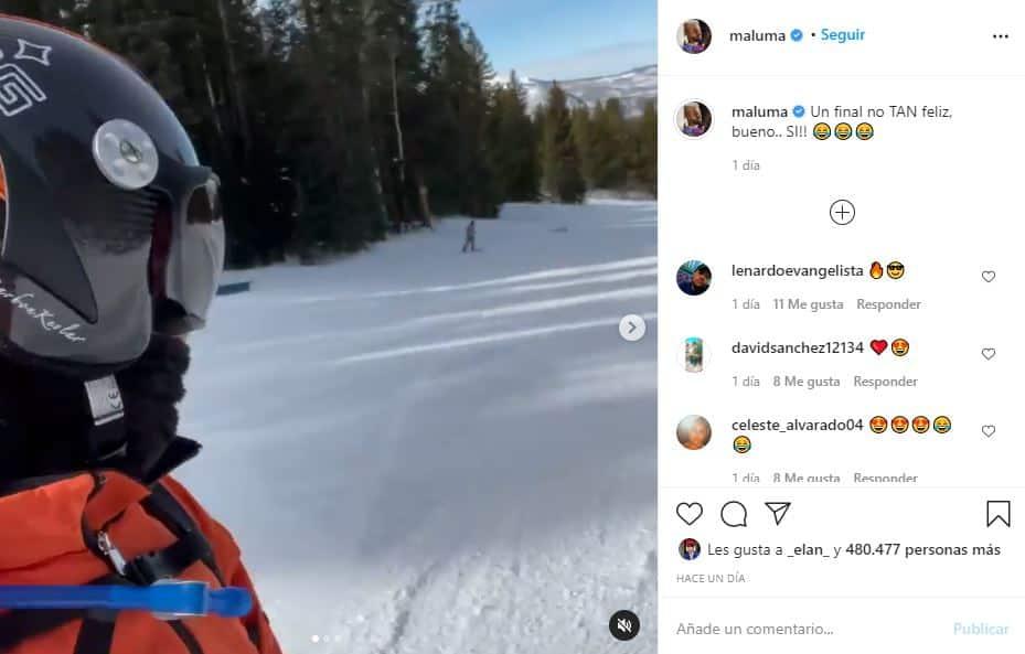 La divertida caída de Maluma mientras practicaba snowboarding