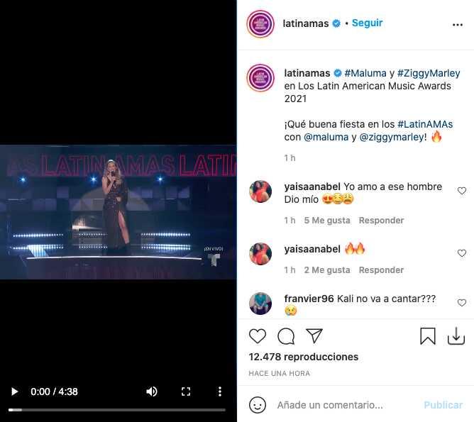 Maluma en su presentación para los Latin AMAS 2021