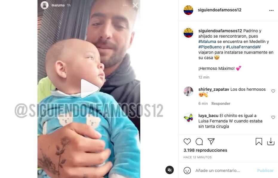 Maluma se reencontró con el hijo de Luisa Fernanda W y quedó registrado en tierno video