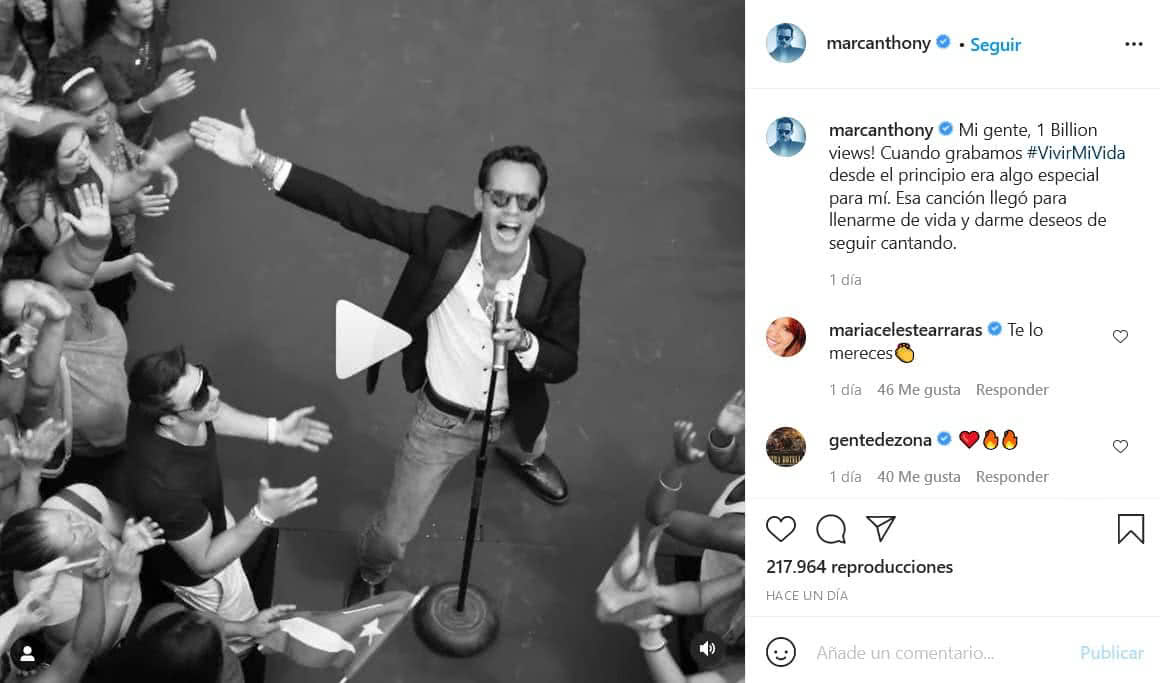 Marc Anthony celebra por 'Vivir mi vida'