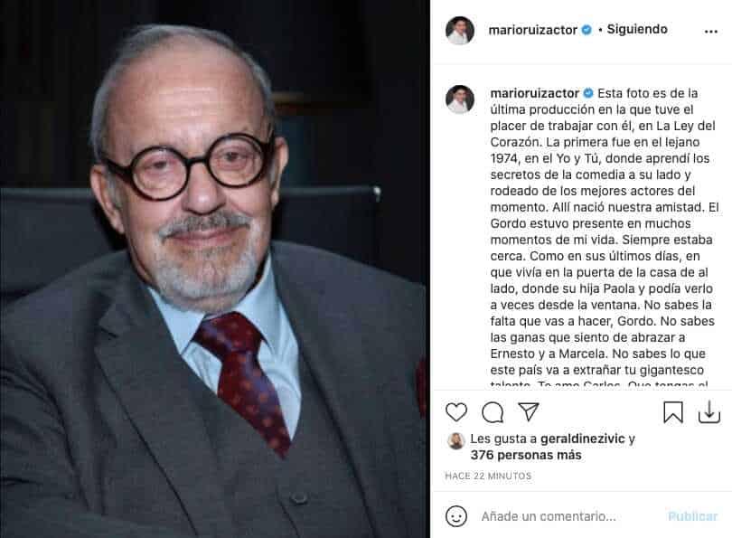 Así reaccionó Mario Ruiz ante la partida del Gordo Benjumea