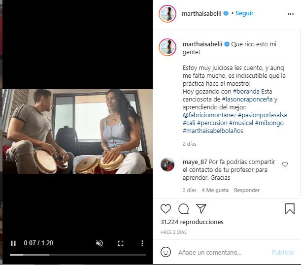 Martha Isabel Bolaños demuestra su talento con el baile(Publicación tomada de Instagram:@marthaisabelii)