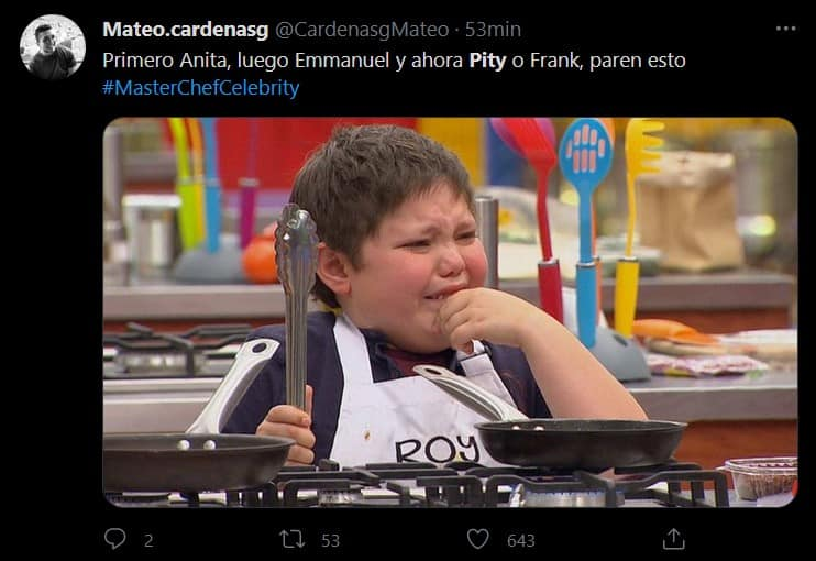 Memes por eliminación de Pity Camacho en MasterChef