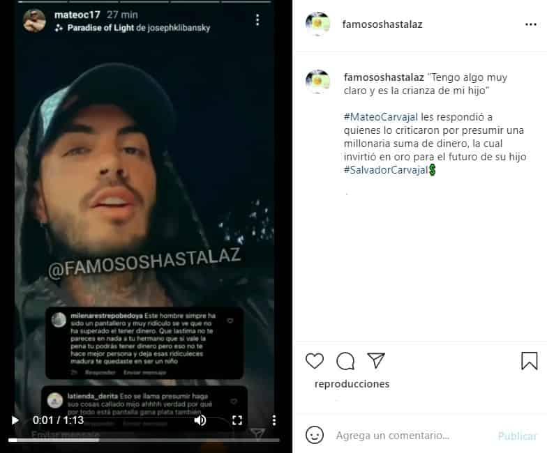 mateo carvajal responde a criticas por millonario regalo a su hijo