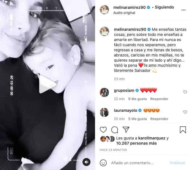 Melina Ramírez revela tierno video junto a Salvador y cuánto lo extrañó