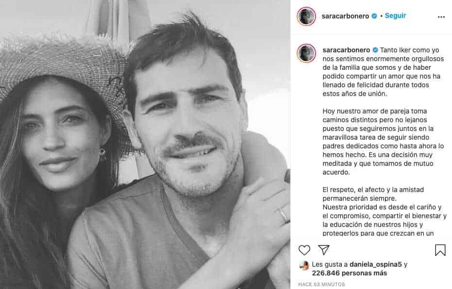 """Fin del """"partido"""", Iker Casillas y Sara Carbonero anuncian su separación"""