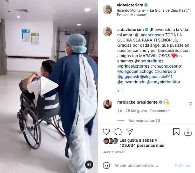 Novio de Aida Victoria Merlano salió de la clínica y tuvo conmovedor recibimiento