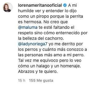 Lorena Meritano opina sobre la polémica entre Lady Noriega y Maluma