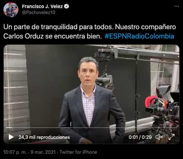 Pacho Vélez habla tras el incidente de su compañero Carlos Orduz
