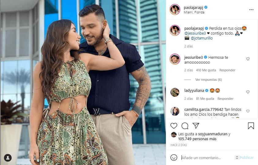 Paola Jara y Jessi Uribe, foto romántica