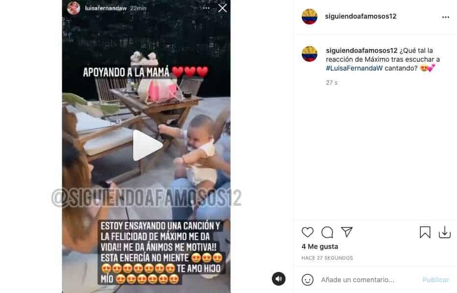 La tierna reacción de Máximo al escuchar cantar a Luisa Fernanda W