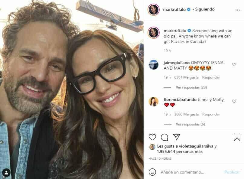 Como si tuvieran 30, la foto del reencuentro entre Mark Ruffalo y Jennifer Garner