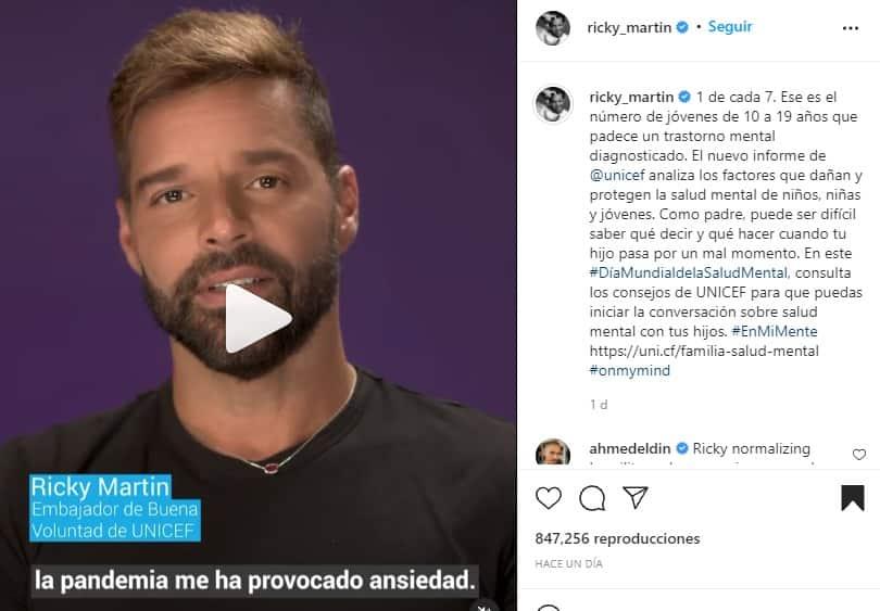 Ricky Martin habla sobre la ansiedad que sufrió durante pandemia