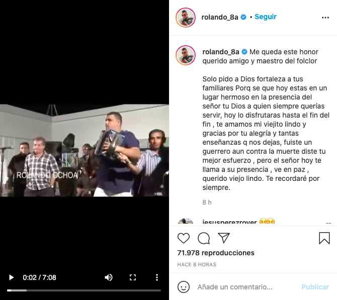 Rolando Ochoa despedida Jorge Oñate