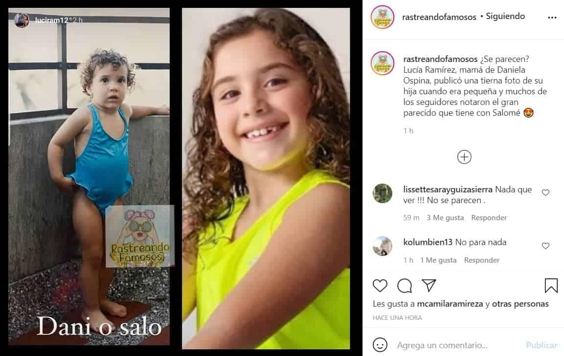 Daniela Ospina de niña y su hija Salomé.
