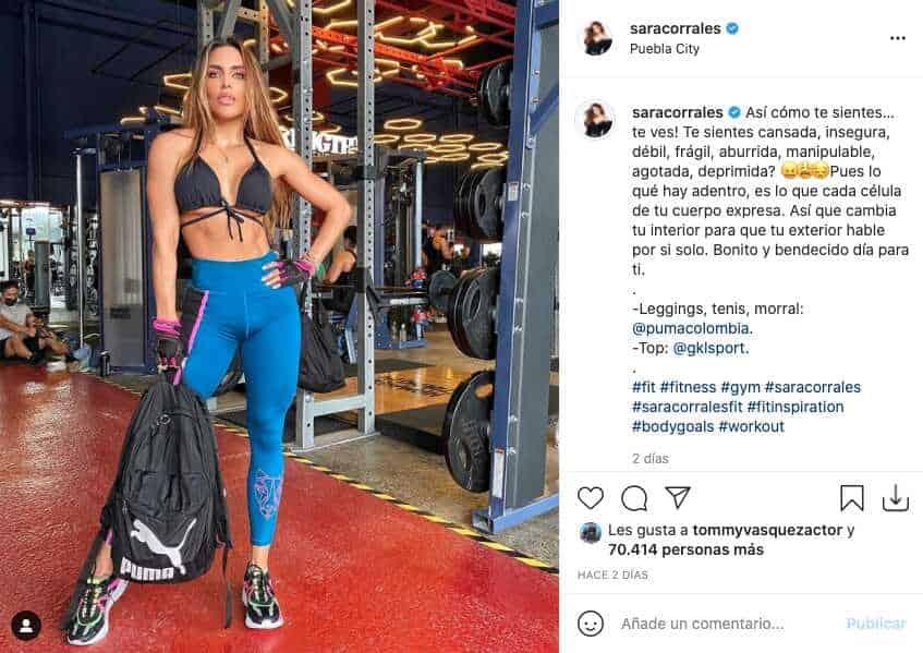 Sara Corrales se dejó ver con sugerentes prendas deportivas en el gimnasio