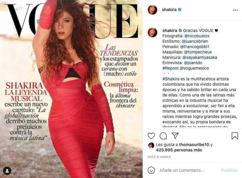 Shakira es por primera vez portada de la revista Vogue y con atractiva foto