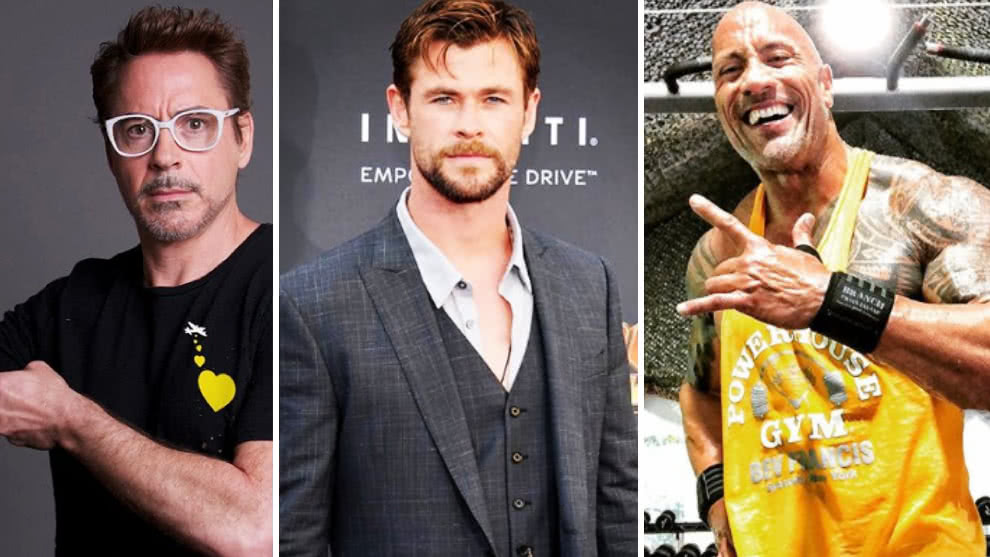 Robert Downey Jr, Chris Hemsworth y Dwayne Johnson